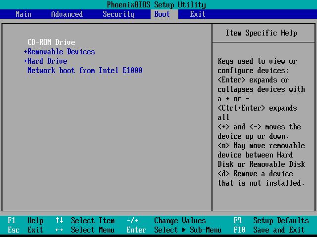 BIOS - Meniu Boot